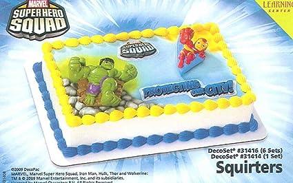 Marvelous Amazon Com Marvel Super Heroes Birthday Cake Decoration Kit Toys Personalised Birthday Cards Veneteletsinfo