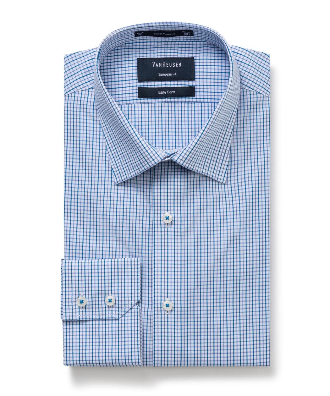 bfa8e363da4 Van Heusen Men s Euro-Tailored Fit Small Check Business Shirt ...
