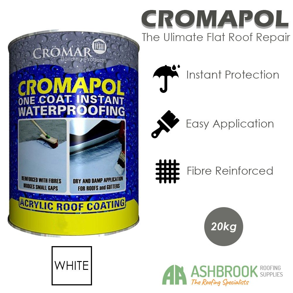Cromapol | Acrylic Roof Coat | Waterproofing Roof Sealant | Fibre Reinforced | Three Sizes | Four Colours | (2.5kg, Clear)