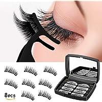 Magnetic Eyelashes 3 Magnets Fiber Fake Eyelashes, 3D Reusable Eyelashes Extensions, No Glue False Eyelashes with Tweezers 2 Pairs/8Pcs (Black)