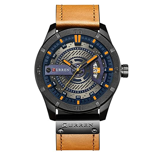 Curren Hombres Quartz-Analog Relojes Militares Deporte Reloj de Pulsera Impermeable Piel Banda Hombres 8301: Amazon.es: Relojes