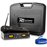 UHF Pro Dual Radio Wireless Microphone System Twin Mic Receiver Carry Case PD782