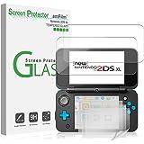 Nintendo 2DS XL Screen Protector Pack, amFilm [2 GLASS Top, 4 PET Bottom] Screen Protectors for New Nintendo 2DS XL 2017 (6 Protectors in Package)