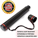 LARGE Telescoping ART Tube. GREAT Storage Holder Case for Document, Poster, Maps, Scrolls, Photos, Drawings, Prints, Blueprint, Artwork, Arrows, Fishing Rods, Transport & Mailing. Expandable to 42 inches - Water & Light Resistant. Best Cool Gift Ideas!