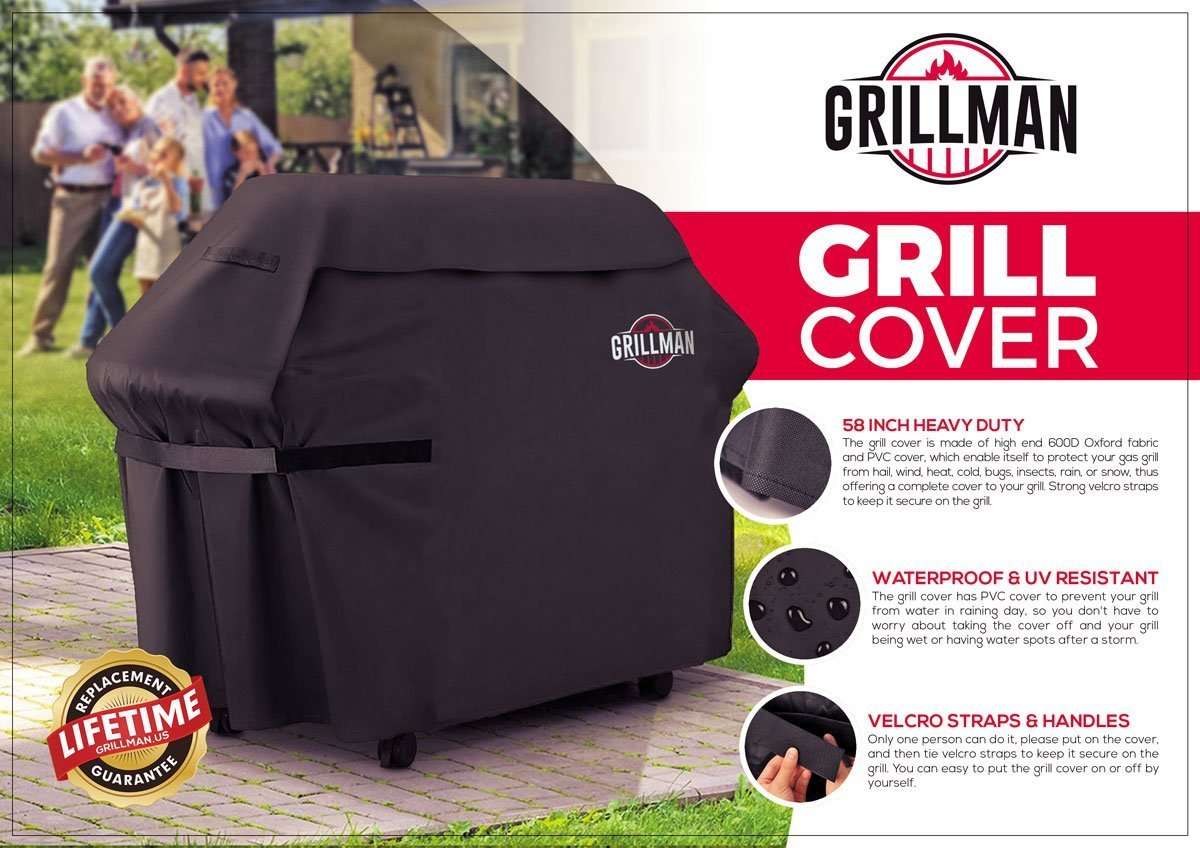 Grillman Premium (58 inch) BBQ Grill Cover, Heavy-Duty Gas Grill Cover Weber, Brinkmann, Char Broil etc. Rip-Proof, UV & Water-Resistant by Grillman (Image #5)