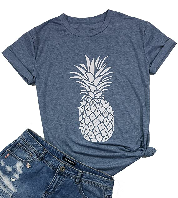 a5fa8bfe2e26 Women's Summer Pineapple Printed T Shirt Casual Short Sleeve Tops Girls  Graphic Tees Size S (