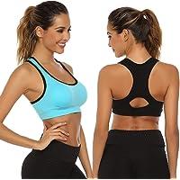 Aibrou Sujetador Deportivo Mujer Push Up (1/2/3pack) con Almohadillas Extraíbles,Bra Deporte sin Costuras para Yoga…