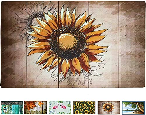 Rubber Welcome Door Mat, Decorative Indoor Outdoor Doormat Non Slip Front Door Mat, Easy to Clean Low Profile Mat for Entry Patio Garage High Traffic Areas, 17.3 x 29 Artistic Sunflower