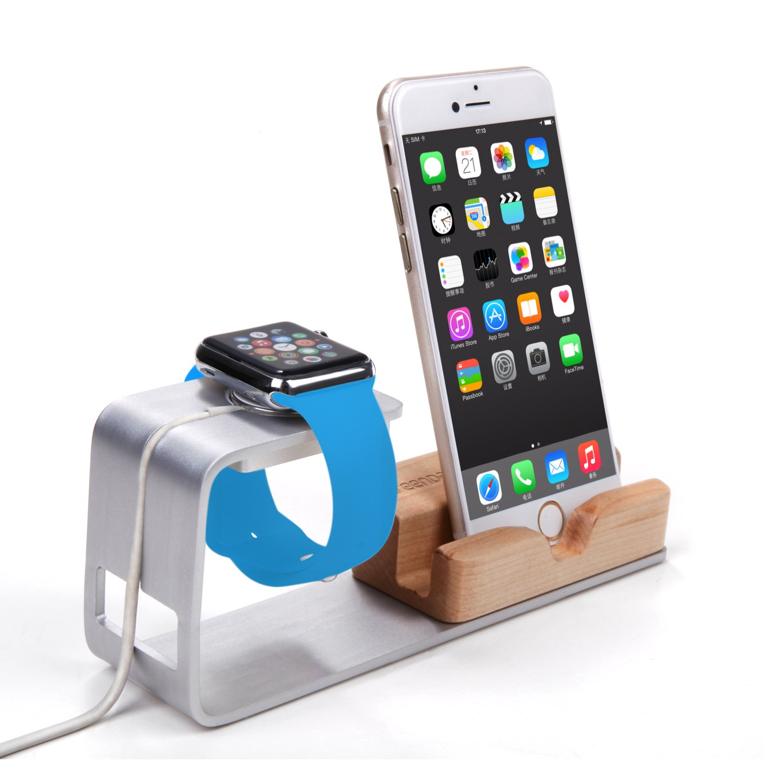 bamboo with aluminum Apple device stand