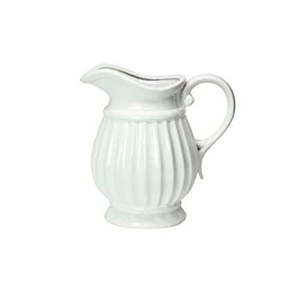 Amazon Dvine Dev 7 Inches Tall White Ceramic Pitcher Vase