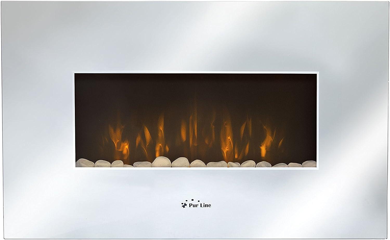 Pur line CHE-450 - Chimenea eléctrica con frontal de espejo y calefacción, 2000 W, Plateado