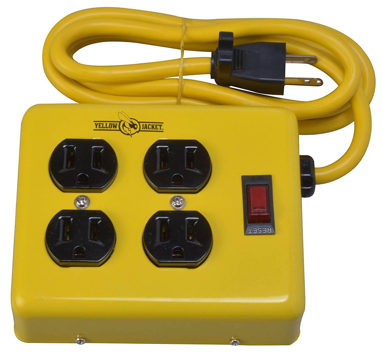 Yellow Jacket Power Supply Adapter Block with 4 Outlets And Lighted Switch (4 Ft Cord, Yellow) Woods 2177N