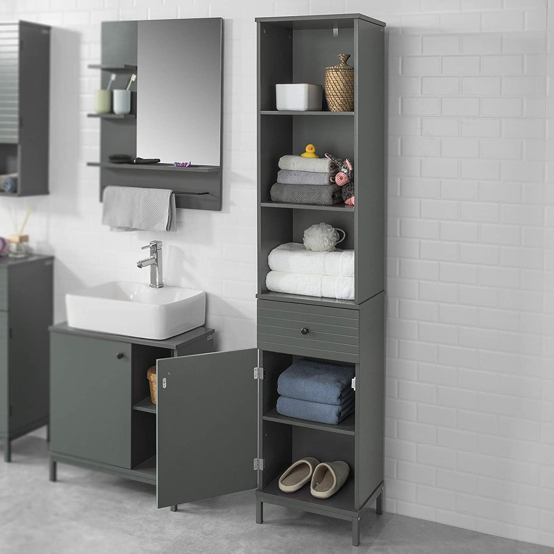 SoBuy BZR22-DG Badezimmer Hochschrank Badschrank Badregal Badezimmerschrank  mit 3 offenen Fächern