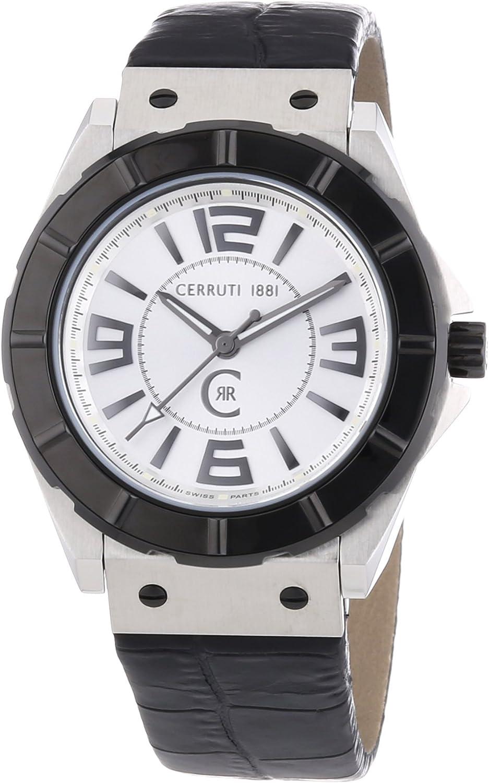Cerruti CRA020A212B - Reloj analógico de caballero de cuarzo con correa de piel negra - sumergible a 100 metros