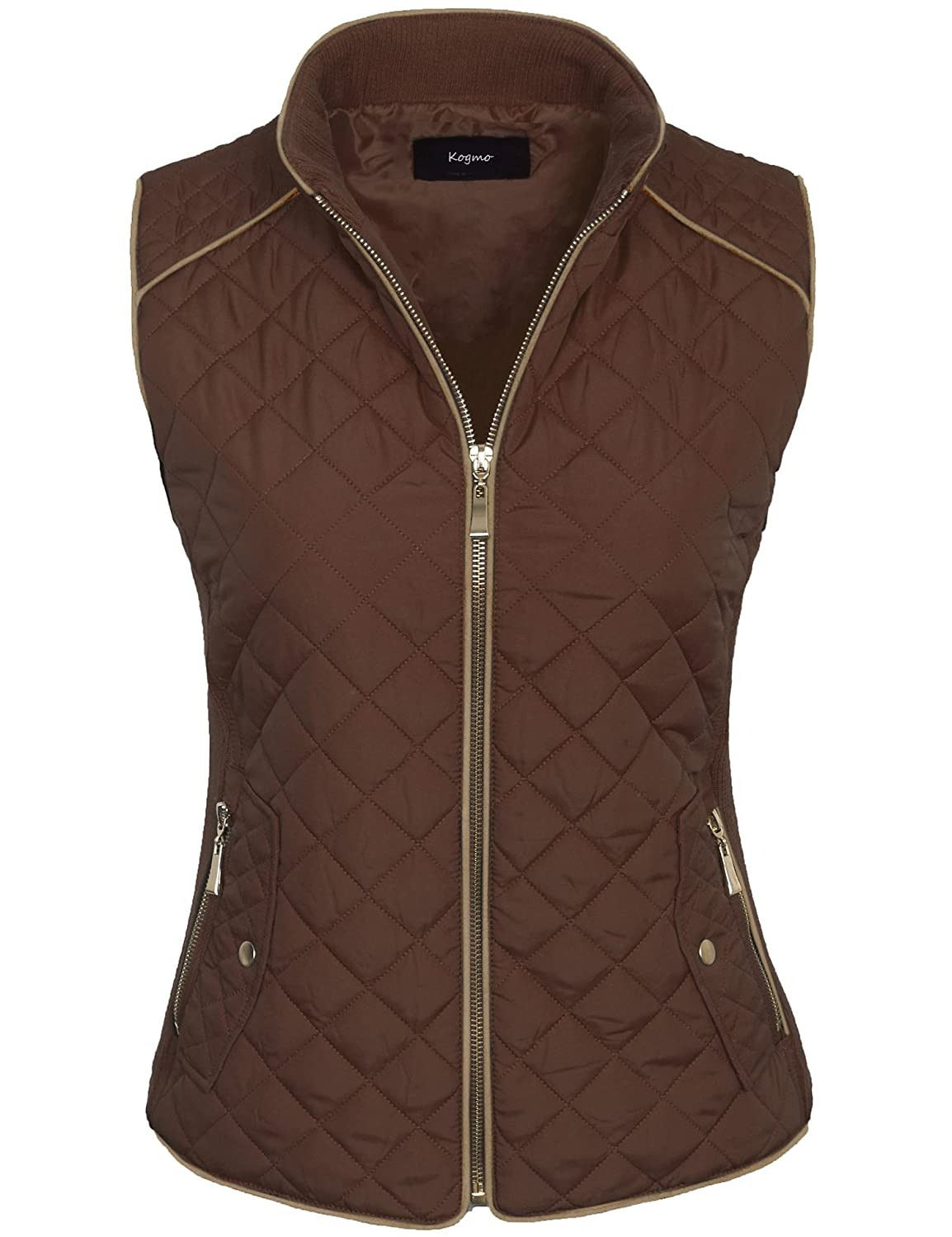 f8aa414aef6 KOGMO Womens Quilted Fully Lined Lightweight Zip up Vest S-3X at Amazon  Women s Clothing store