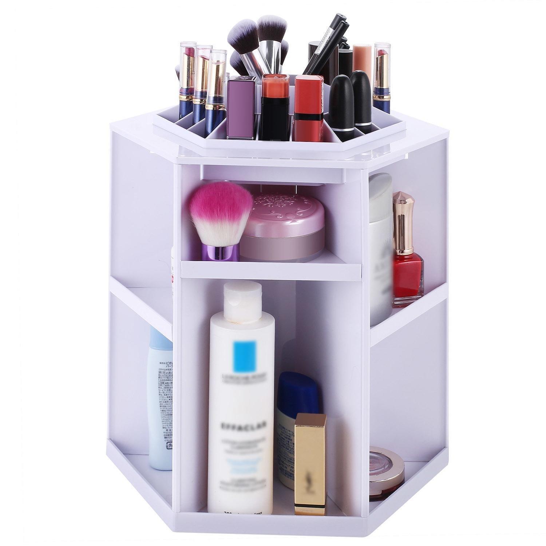 Tinffy Creative 360 Degree Rotating Make Up Desktop Storage Box Display Organizer Case White Cosmetic Display Cases