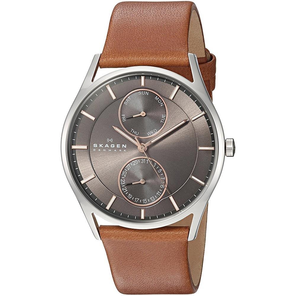 Skagen Men s 40mm Brown Calfskin Band Steel Case Quartz Grey Dial Analog Watch SKW6086