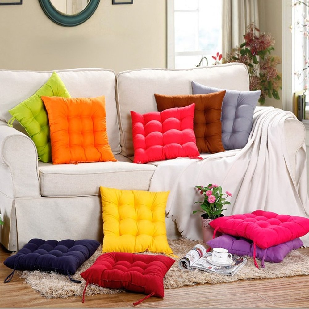 35x34cm,Red Chair Cushion Square Seat Pads with Ties Straps for Living Room Patio Garden Office Dining Chairs Decoration