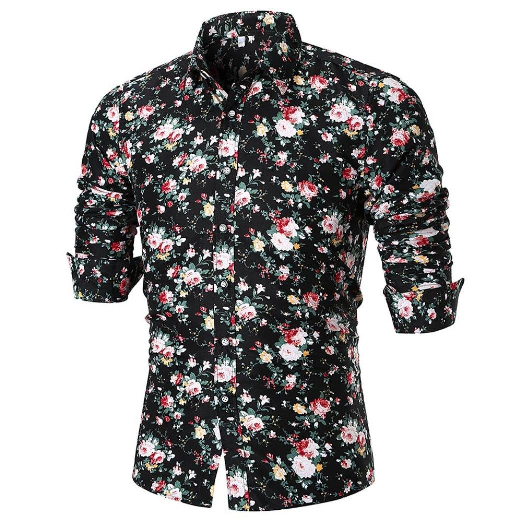 Easytoy Mens Floral-Printed SLI Fit Button Down Casual Long Sleeve Dress Shirt at Amazon Mens Clothing store: