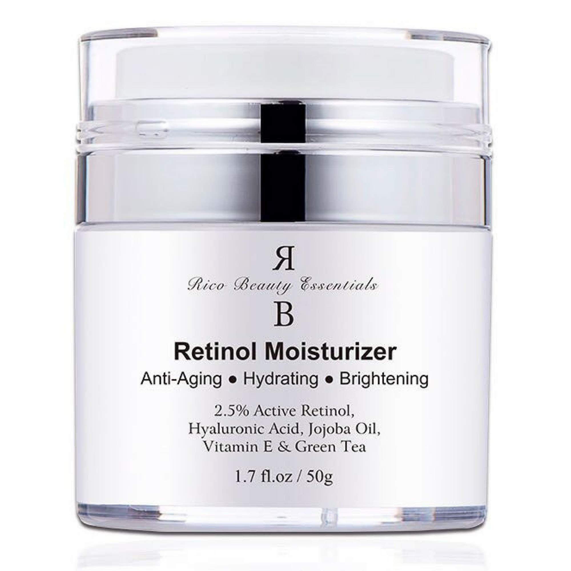 Retinol Moisturizer Cream for Face - With Retinol , Hyaluronic Acid, Vitamin E and Green Tea. Best Anti- Aging Night and Day Time Moisturizing Cream 1.7 FL Oz by Rico Beauty Essentials