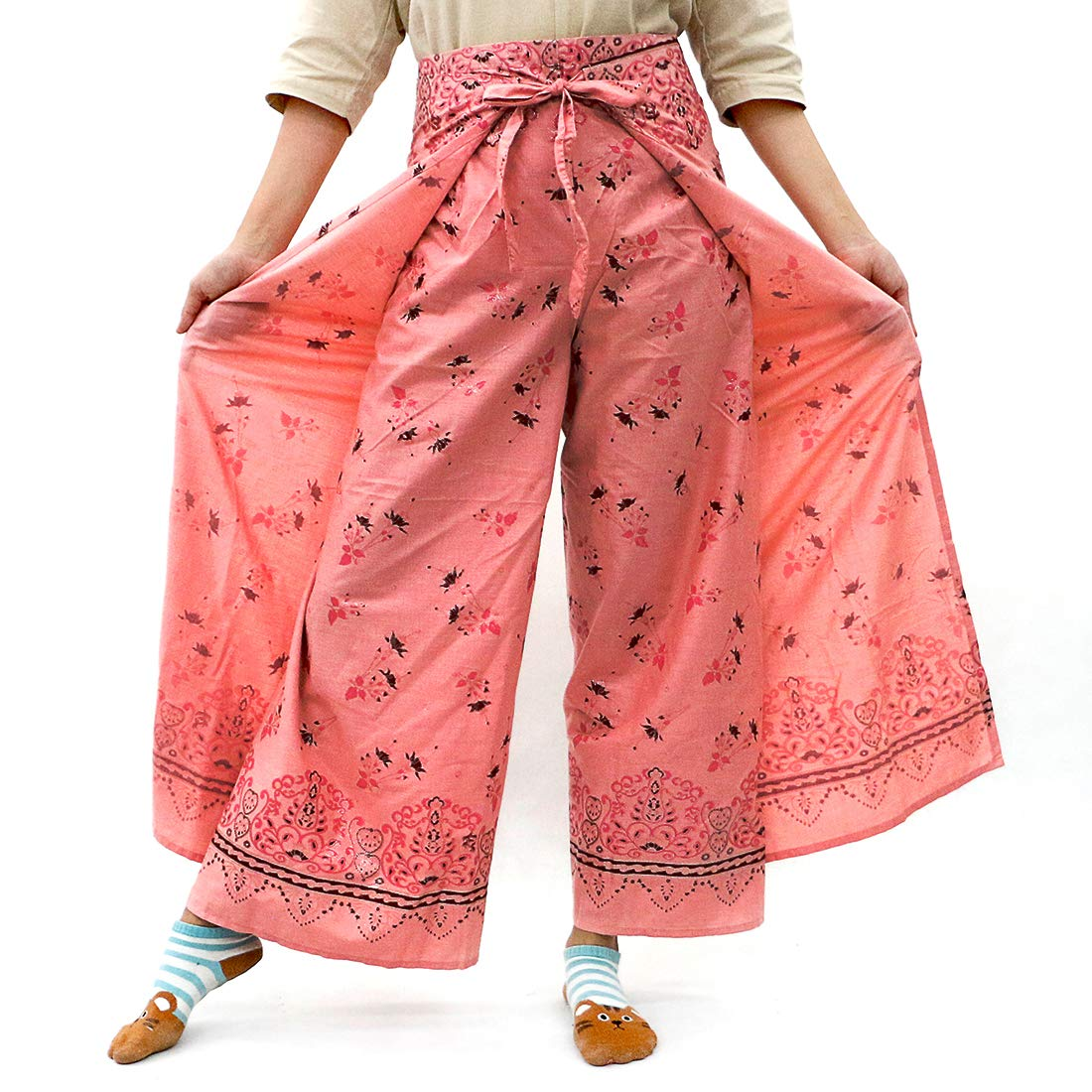 Dark Pink Taruron Women Wrap Around Decorative Glitter Patterns Cotton Summer Casual Pants