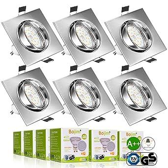 Bojim Pack de 6 Foco Empotrable Led Gu10 Luz de Techo 6W equivalente a Halogeno 54W Incluye Bombilla ...