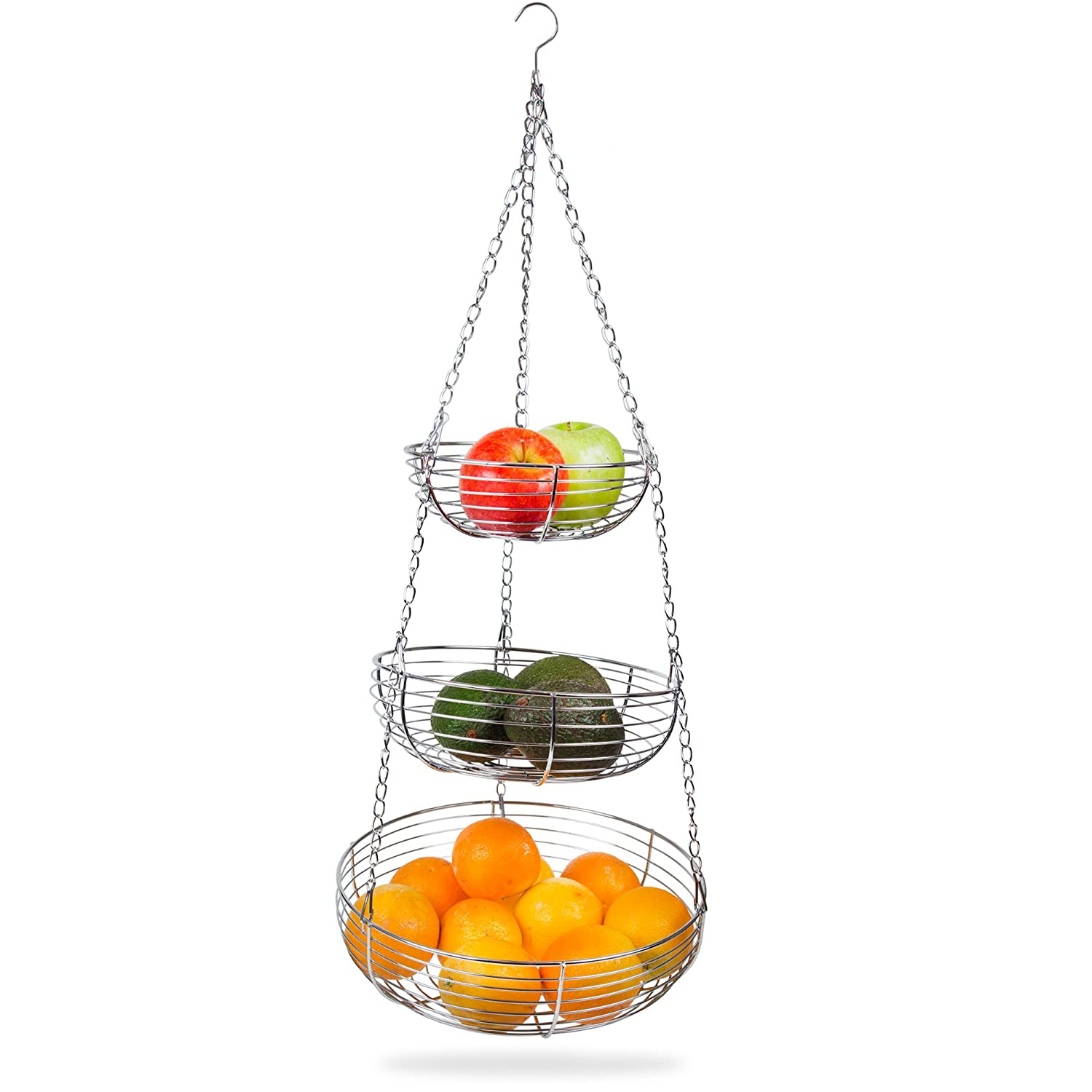 Home Intuition 3-Tier Hanging Basket Heavy Duty Wire, Round (Chrome)