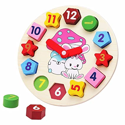 Amazon Com Little Star Wooden Blocks Toys Digital Geometry Clock