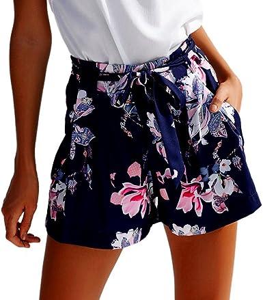 Paolian Pantalones Cortos Para Mujer Verano 2018 Casual Pantalones De Vestir Estampado Flores Fiesta Con Pretina Cintura Alta Suelto Playa Pantalones Cortos Senora Bohemio Amazon Es Ropa Y Accesorios