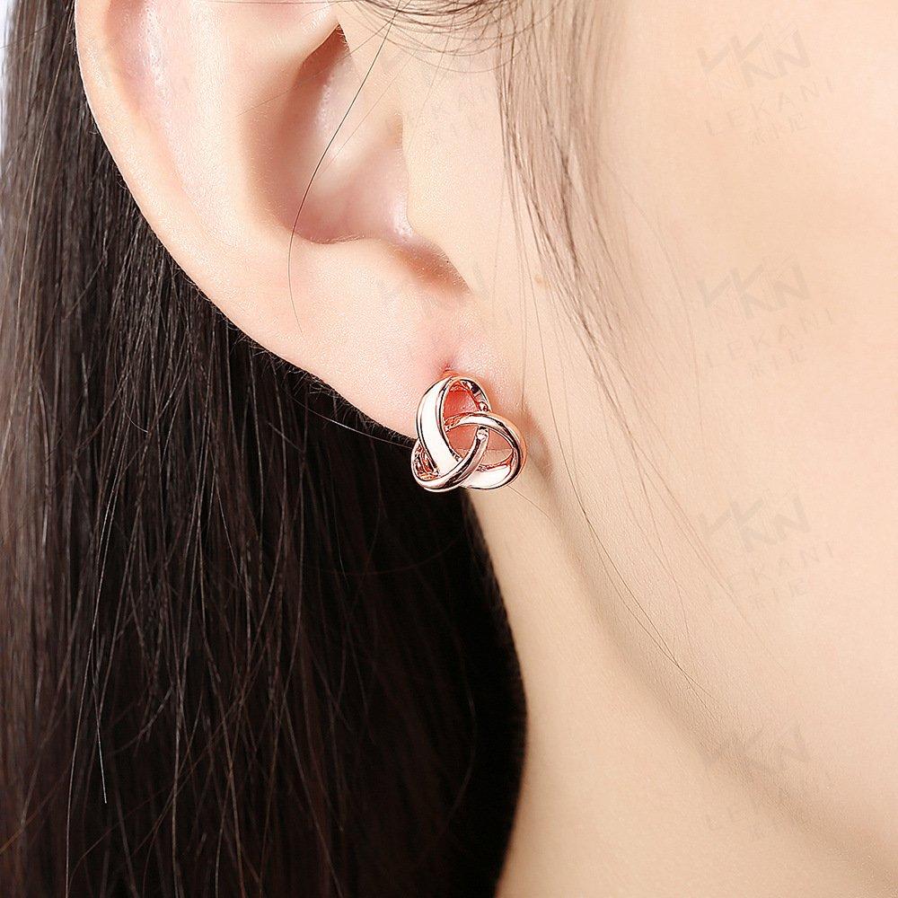 Vanski Korean Style Love Knot Stud Earrings Twisted Ear Studs Piercing Earrings Rose Gold Fashion Jewelry