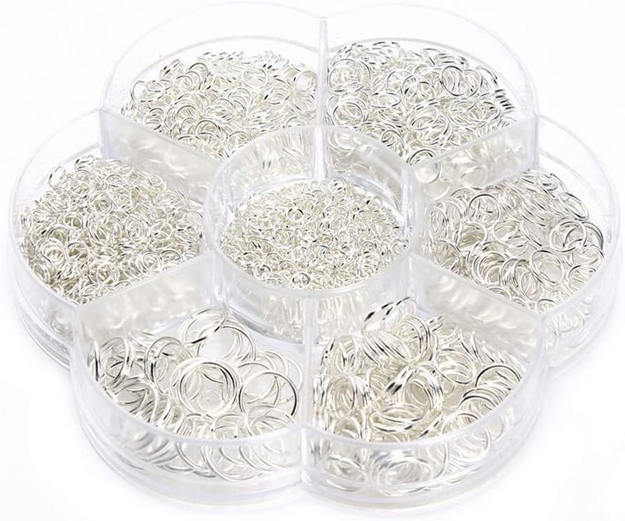 1450pcs Box Set Open Jump Rings Jewelry Findings Kit Jewelry Connectors Chain Links Set for DIY Clay Jewelry Making Findings 4-10mm Gold