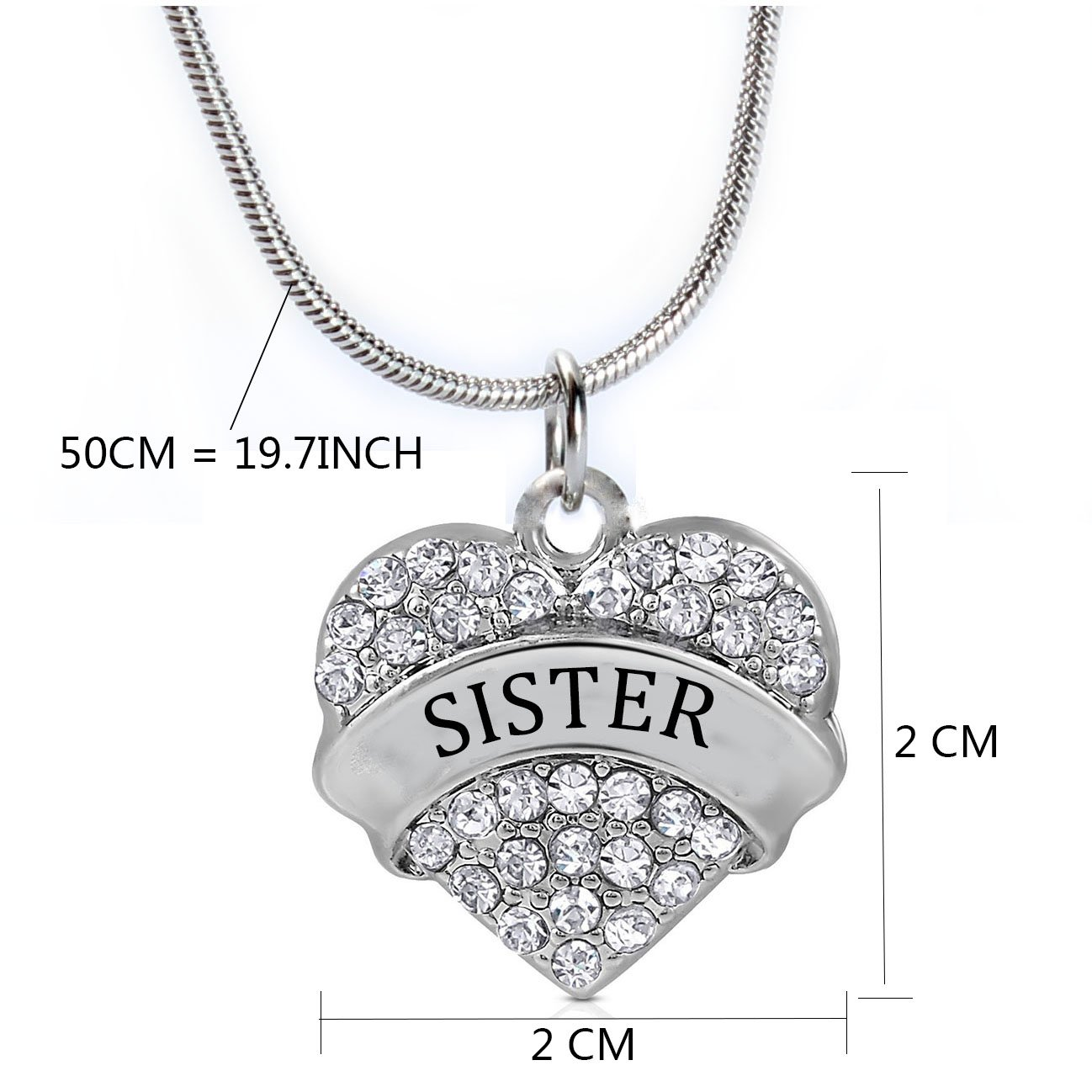 Sister Gifts Heart Pendant Necklace Women Girl - White Crystal Silver Jewelry