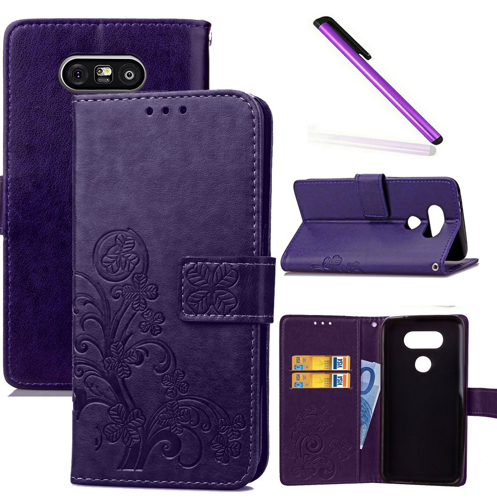 HMTECHUS LG G5 Wallet Case Printing Floral Card Slots Magnetic Folio Flip Stand Shockproof PU Leather Protection Drop Resistance Scratch Resistant Mobile Slim Cover for LG G5 Lucky Clover:Purple XD
