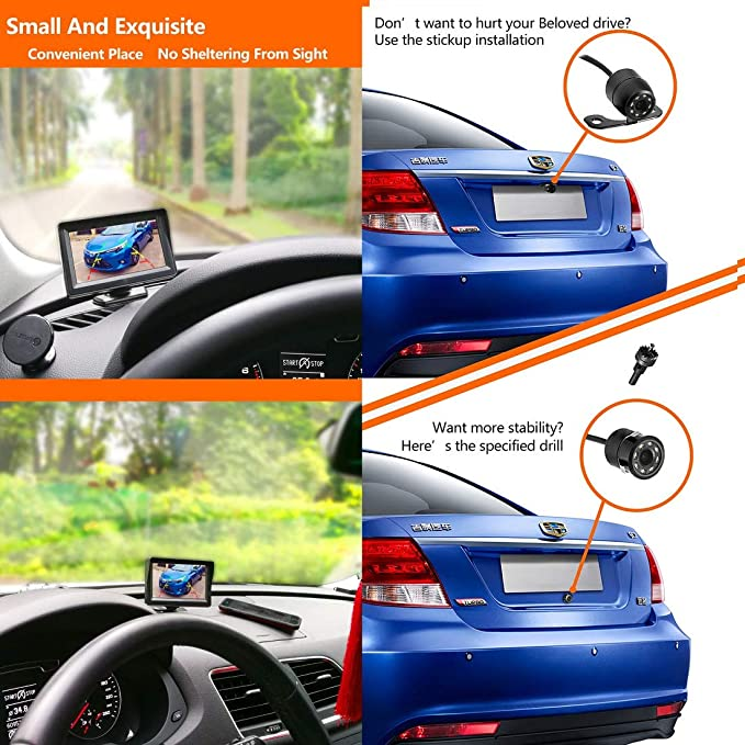 36 Month Warranty Backup Camera and Monitor Kit For Car//MPV//PICKUP//Truck//SUV,Universal Wired Waterproof Rear-view 2-installation Car Rear Backup Camera 4.3 LCD Rear View Monitor