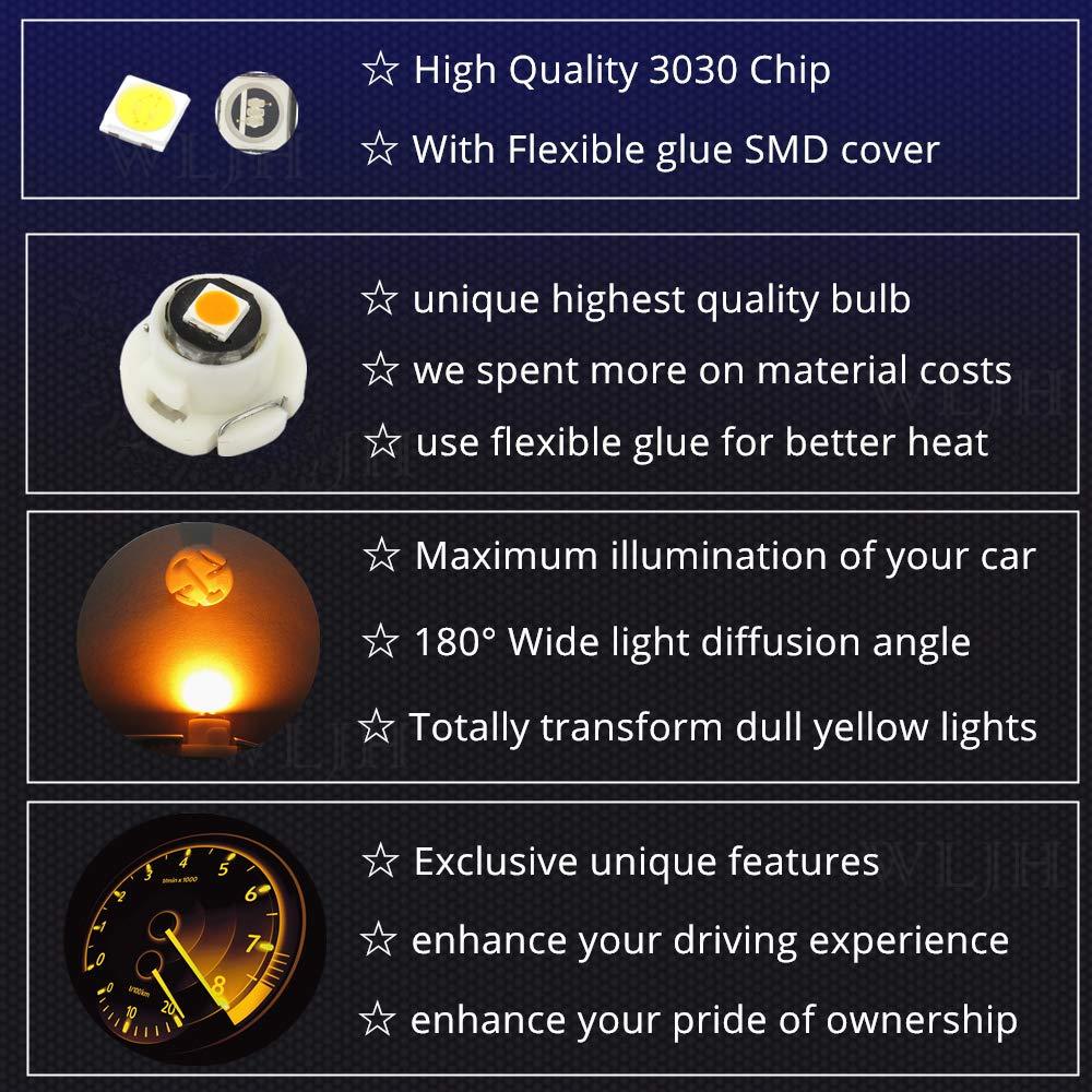 WLJH 10x Rosa T4.2 Neo Wedge Led 3030 Chipest 10mm Base Led Strumento per auto Cluster Lampadina Cruscotto Calibro Lampadina HVAC Riscaldatore AC Riscaldamento Climatizzatore Indicatore Luce interna