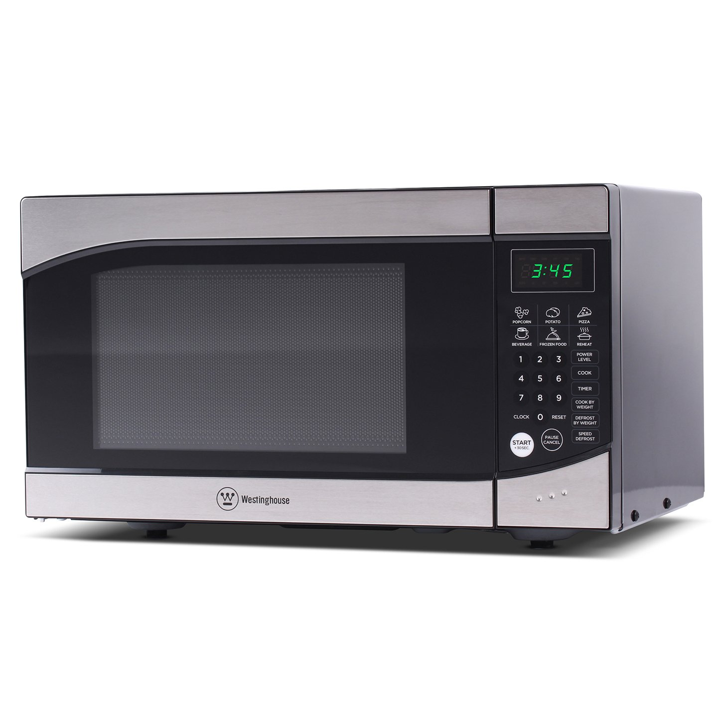 Westinghouse WM009, Countertop Microwave Oven, 900 Watt, 0.9 Cubic Feet, Stainless Steel Front, Black Cabinet, Small, Trim