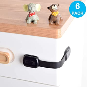 Baby Proofing Cabinet Lock Child Proof Safety Locks Adjustable Strap Latches to Cabinets,Drawers,Cupboard,Oven,Fridge,Closet Seat,Door,Window 6PCS