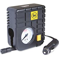iN CAR® Tyre Inflator Air Tool 12v Top of the Range Travel Essentials Heavy Duty Mini Emergency Tyre Compressor Car Tyre Inflator or for Bike/Bicycle Tyres with Internal LED Light for up to 80PSI