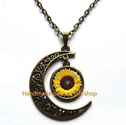 Amazon crescent moon necklace sunflower pendant yellow crescent moon necklacesunflower pendant yellow sunflower necklace sunflower jewelry spring jewelry mightylinksfo