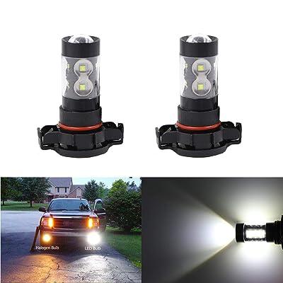 Fog Light Lamps Ultra Bright 6000K White 2504 12276 PSX24W LED Bulbs 50W CREE LEDs Replace for Fog Light Driving Light Bulbs Lamps: Automotive