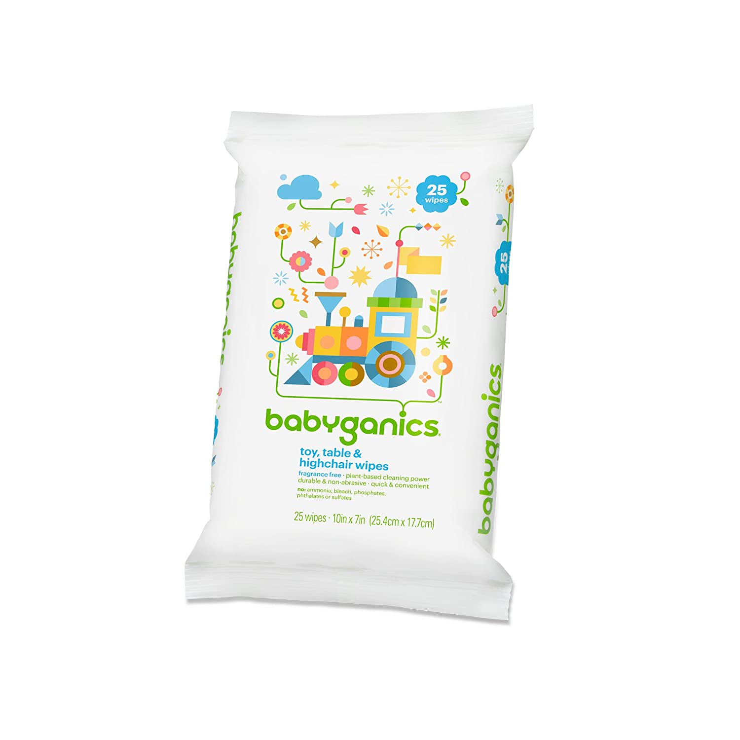 Babyganics Toy Table and High Chair Wipes, Fragrance Free, 25 ct BG-218