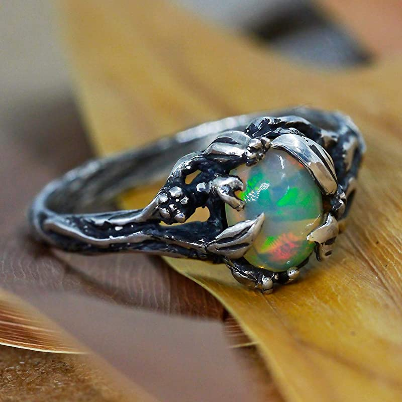 925 Sterling Silver Natural Ethiopian Opal Welo Fire Gemstone And Wedding Ring | Exclusive Opal Ring
