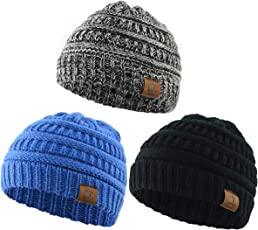 Durio Soft Warm Knitted Baby Hats Caps Cute Cozy Chunky Winter Infant Toddler Baby Beanies Boys Girls