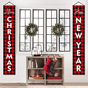 Christmas Decorations for Home - Modern Farmhouse Decor - MERRY CHRISTMAS HAPPY NEW YEAR Red Buffalo Check Plaid Porch Signs - Xmas Banners for Indoor Outdoor Front Door Living Room Kitchen Wall Party