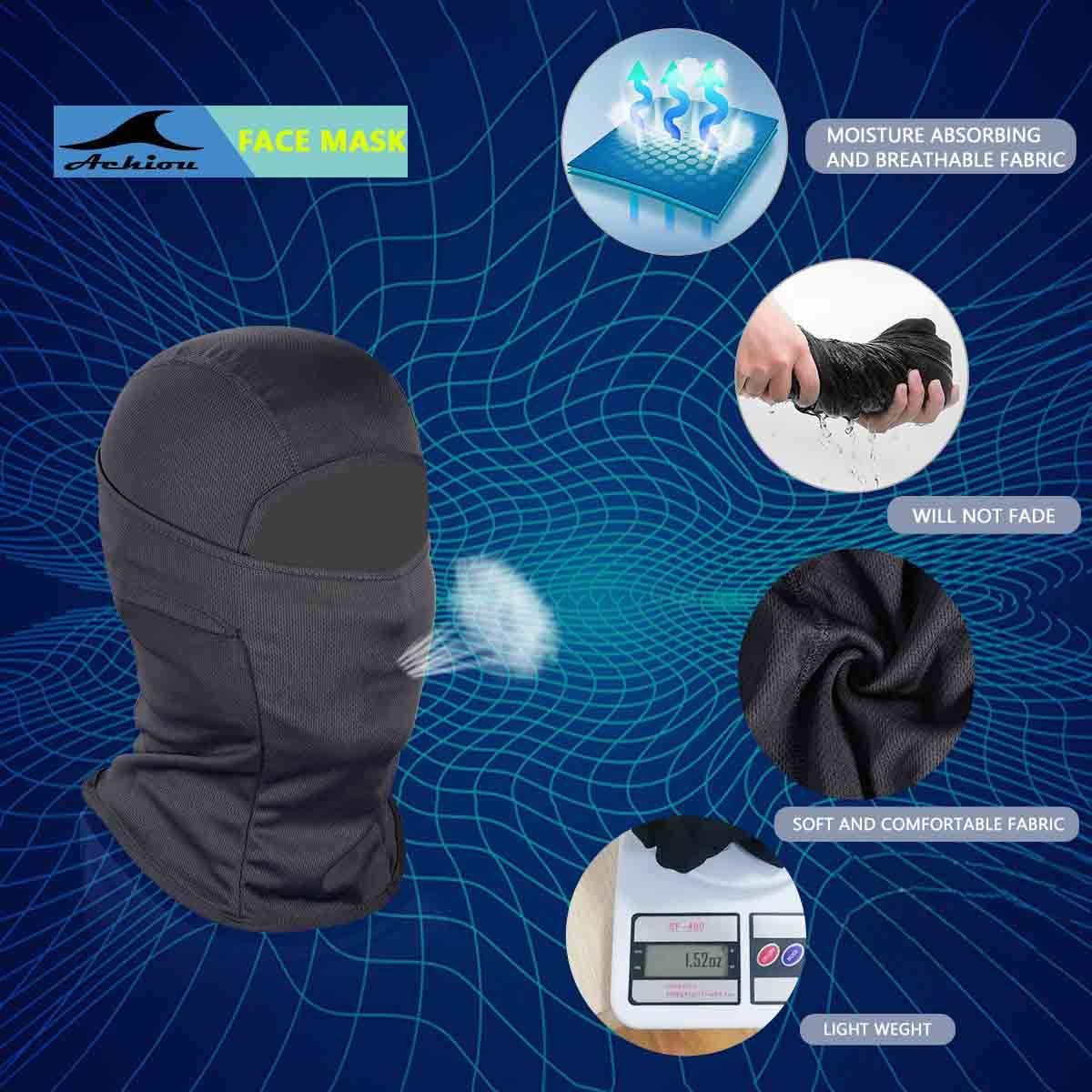 Achiou Balaclava Face Mask Men and Women Summer Sun Hood Tactical Mask Keep The Helmet Dry for Outdoor Sports Motorcycle
