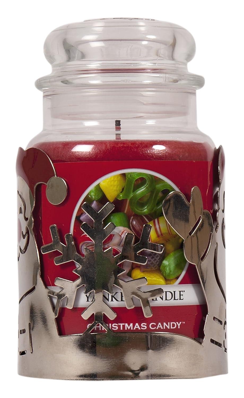 portabicchiere e grande Red Candy con candela profumata argento riflettente metal /& Red festive Candle Sleeve decorazione per caminetti//tabelle Yankee Candle Premium set regalo di Natale Babbo Natale