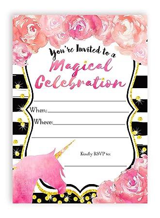 Amazon unicorn watercolor flower large invitations 10 unicorn watercolor flower large invitations 10 invitations 10 envelopes stopboris Choice Image