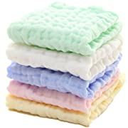 Baby Muslin Washcloths - Natural Muslin Cotton Baby Wipes - Soft Newborn Baby Face Towel and Muslin Washcloth for Sensitive Skin- Baby Registry as Shower Gift, 5 Pack 12x12 inches by MUKIN