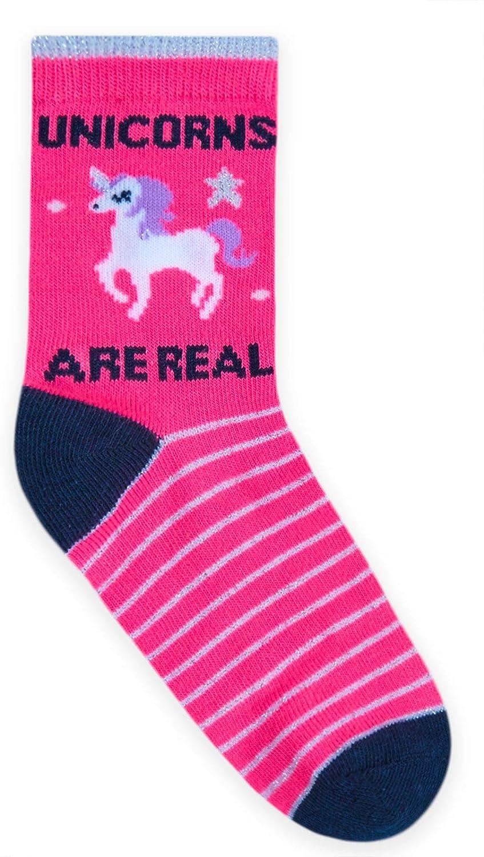 JollyRascals Girls Unicorn Socks 3 Pairs Kids Ankle Socks Neon Pink Grey Unicorn Rainbow Sock Novelty Children Character Socks 3 PACK UK Sizes 6-8.5 9-12 12-3.5