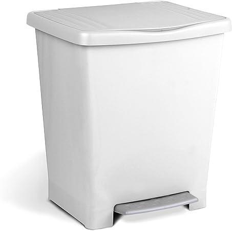 Oferta amazon: Tatay Millenium Cubo de Basura con Apertura Automática a Pedal o Manual, Capacidad 25 L, Fabricado en Plástico Polipropileno. Medidas 33,5 x 30 x 39 cm (L x An x Al). Color Blanco.